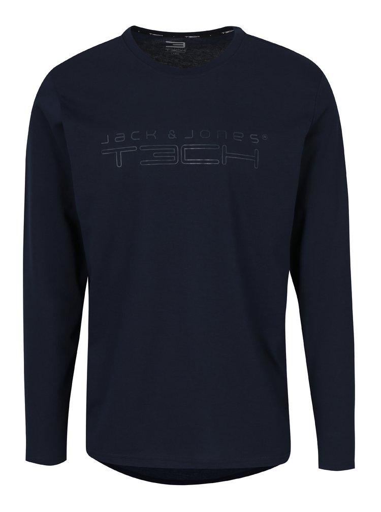 Tmavomodré tričko s dlhým rukávom Jack & Jones Autumn