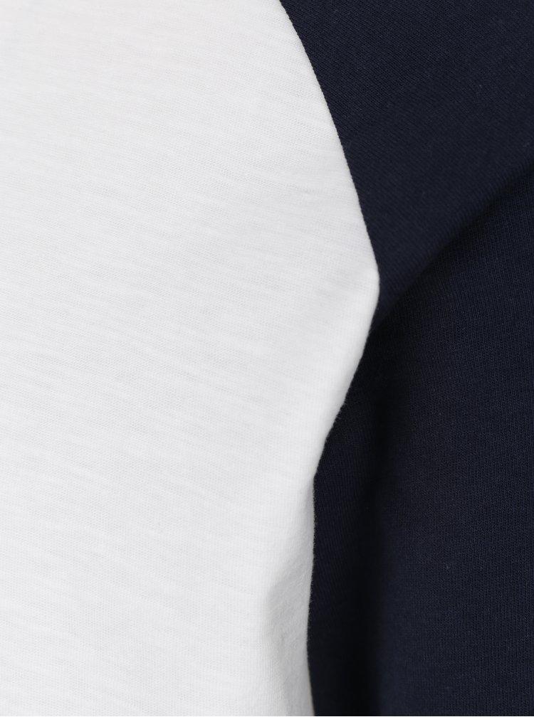Modro-krémové tričko s dlouhým rukávem Jack & Jones New Stan