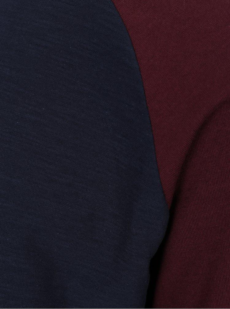 Bluză bleumarin & vișiniu cu mâneci raglan lungi Jack & Jones New Stan