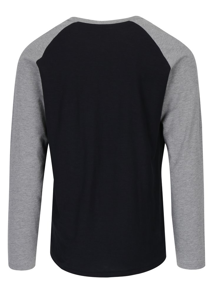 Šedo-černé tričko s dlouhým rukávem Jack & Jones New Stan