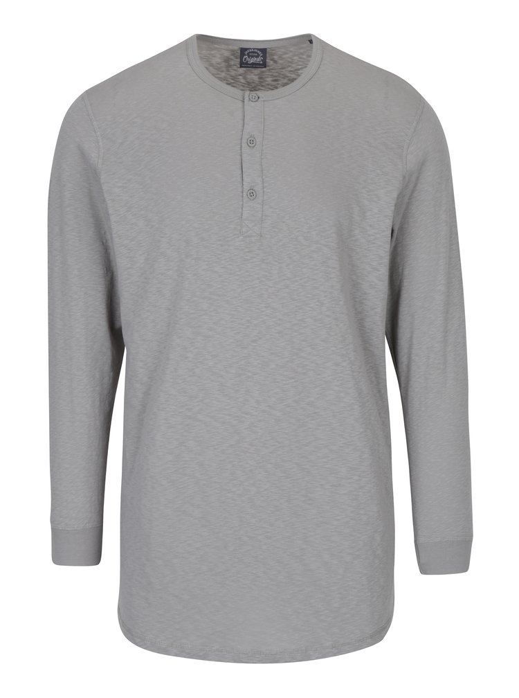 Šedé tričko s dlouhým rukávem Jack & Jones Stitch