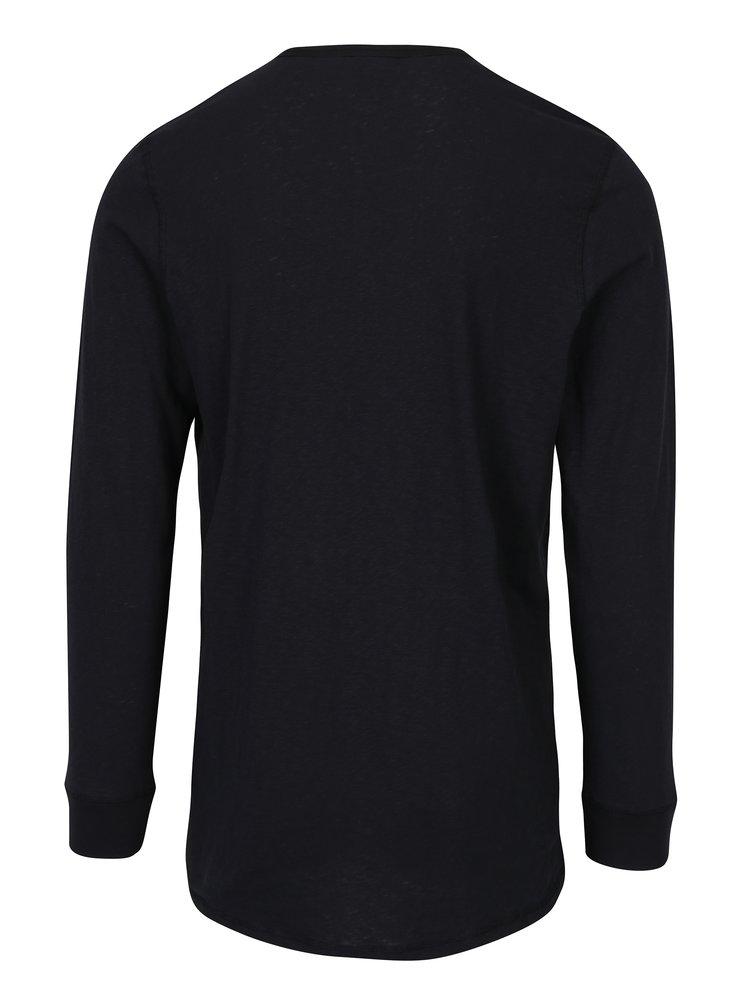 Bluza neagra din bumbac cu maneci lungi Jack & Jones Stitch