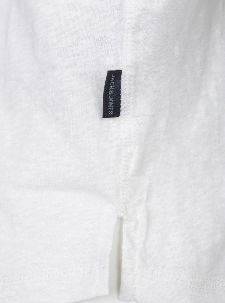 Bílé tričko s dlouhým rukávem Jack & Jones Stitch