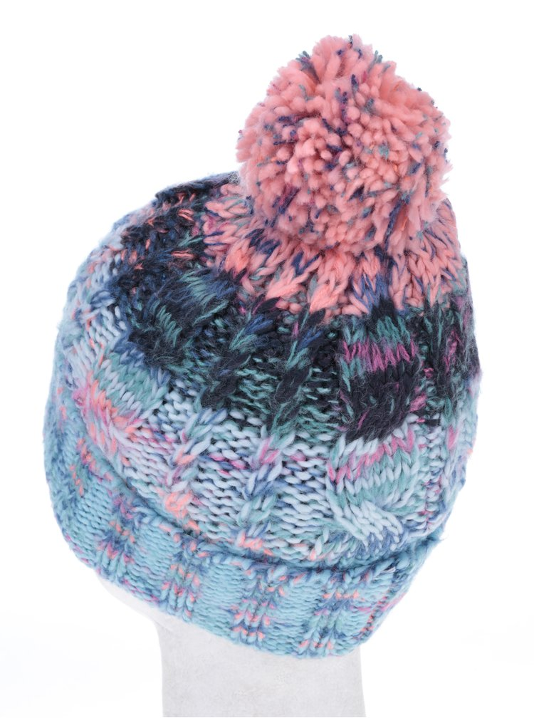 Mentolovo-ružová dievčenská čiapka s brmbolcom name it Maritz