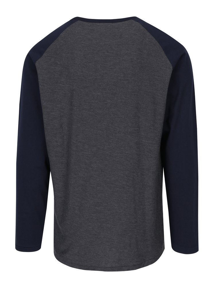 Bluza gri & albastru cu maneci raglan lungi Jack & Jones New Stan