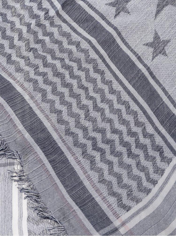 Sivo-krémová vzorovaná dievčenská šatka name it Kabi