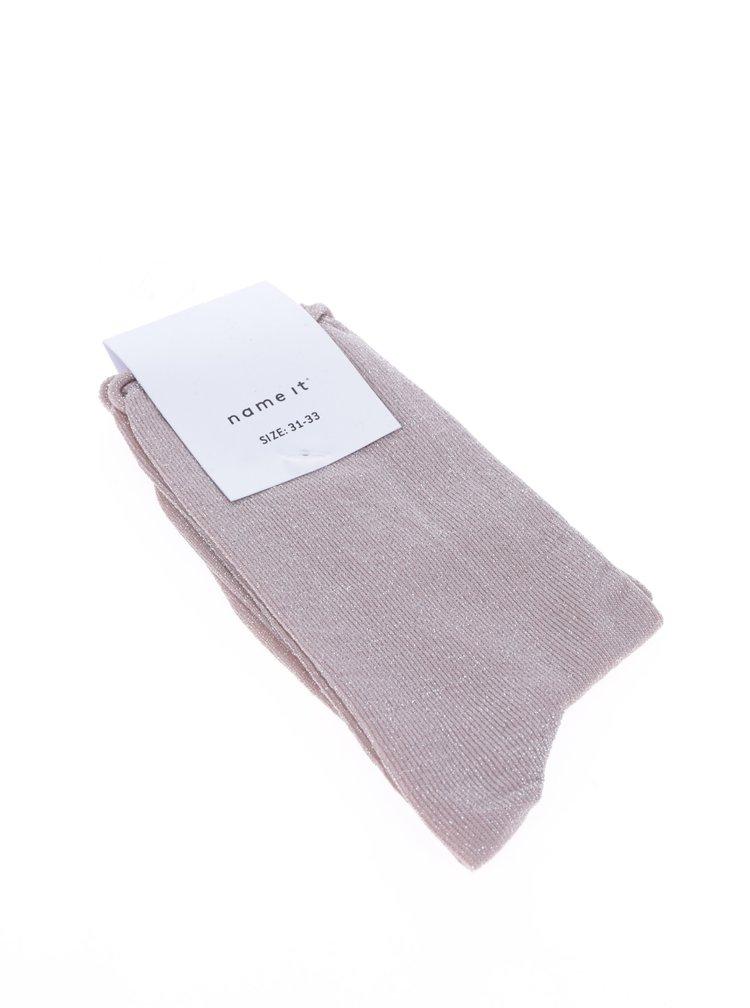 Růžové třpytivé holčičí ponožky Name it Glam