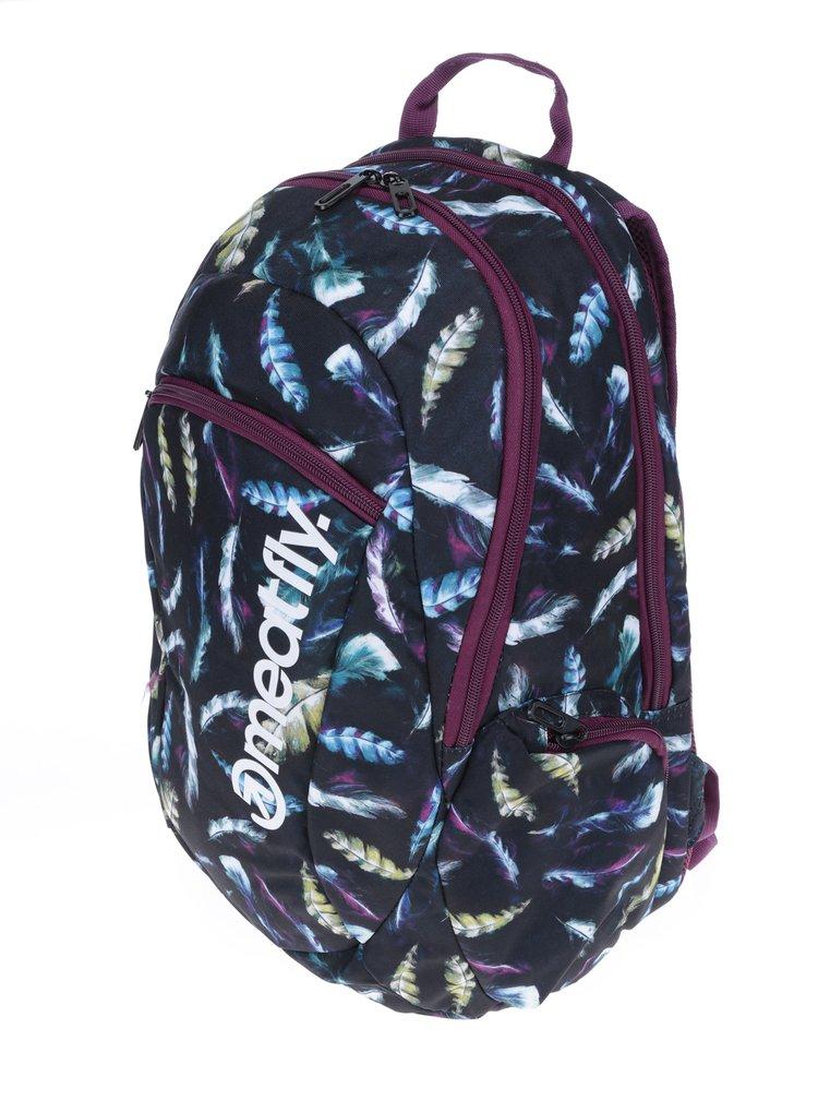 Černý dámský batoh s motivem pírek Meatfly Purity 26 l