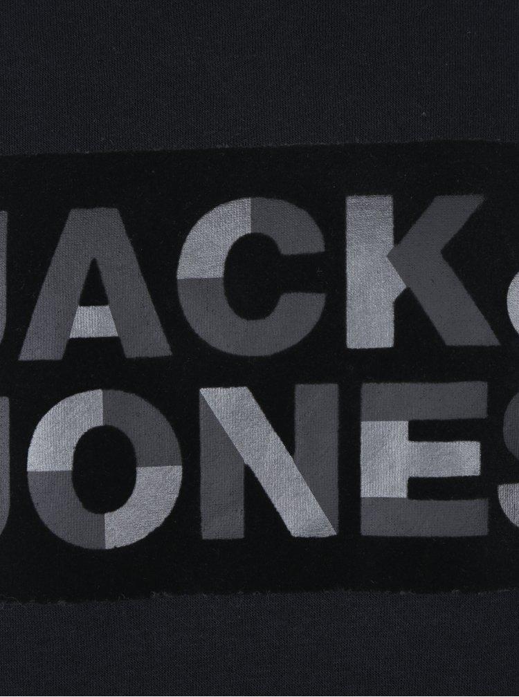 Černá mikina s asymetrickým zapínáním Jack & Jones Kalvo