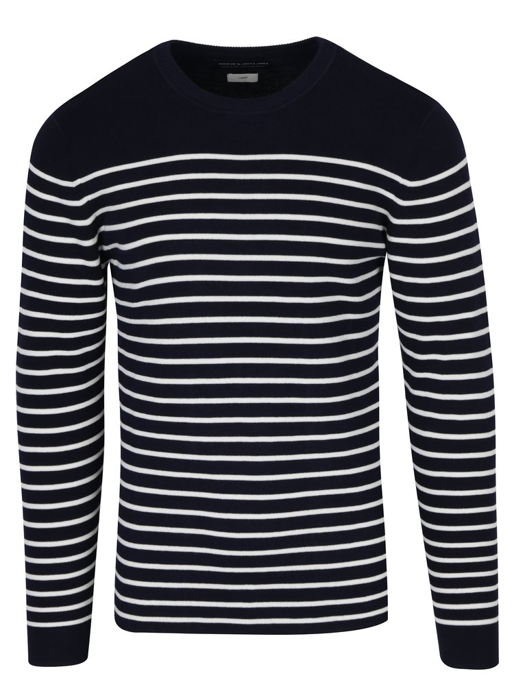 Pulover bleumarin cu dungi crem Jack & Jones Sailor