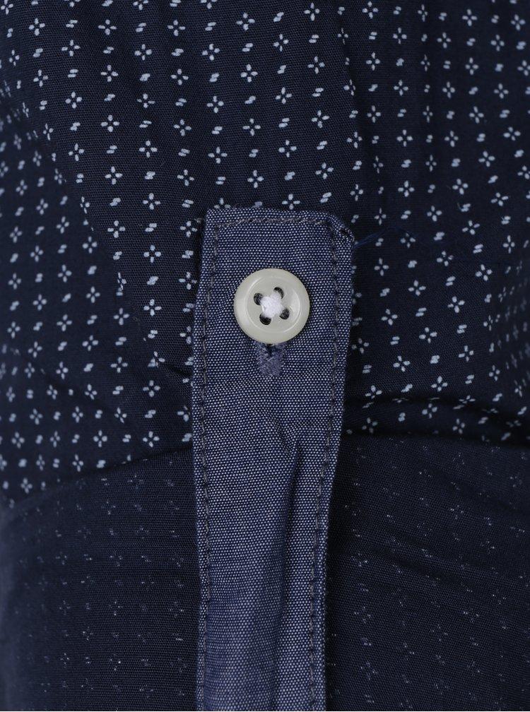 Camasa slim fit de bumbac bleumarin & crem - Jack & Jones Bosco