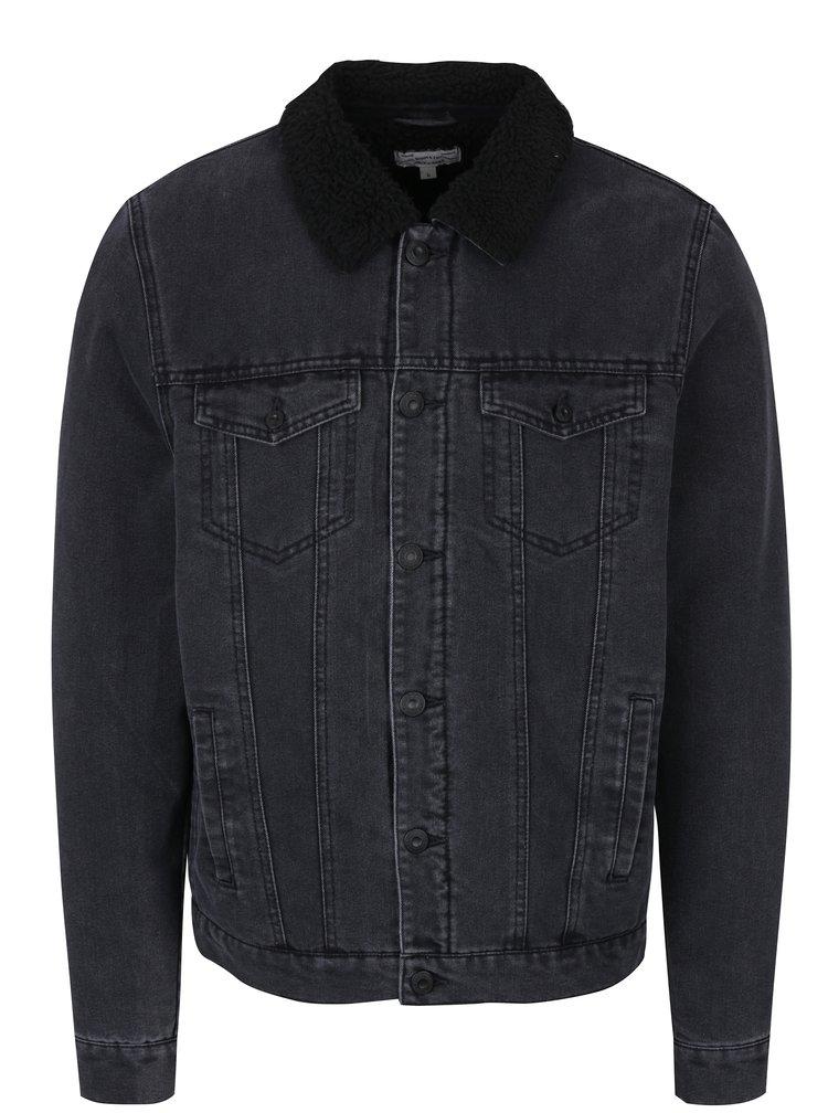 Černá džínová bunda s umělým kožíškem ONLY & SONS Louis