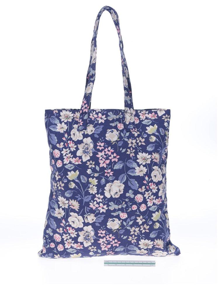 Tmavě modrá dámská květovaná plátěná taška Cath Kidston