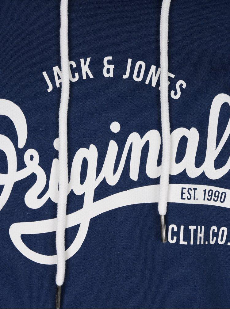 Modrá mikina s kapucí a potiskem Jack & Jones Hawl