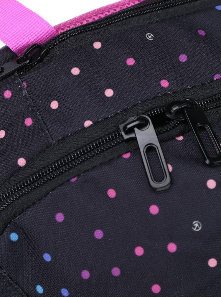 Růžovo-černý dámský puntíkovaný batoh Meatfly Vault 26 l