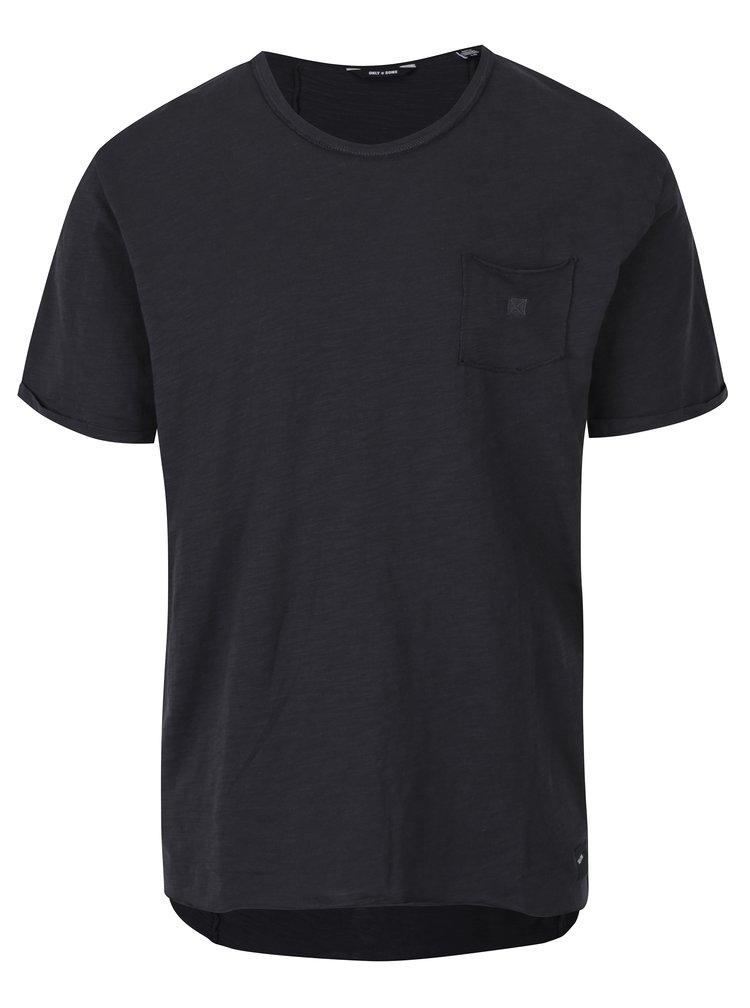 Černé žíhané tričko s náprsní kapsou ONLY & SONS Antony