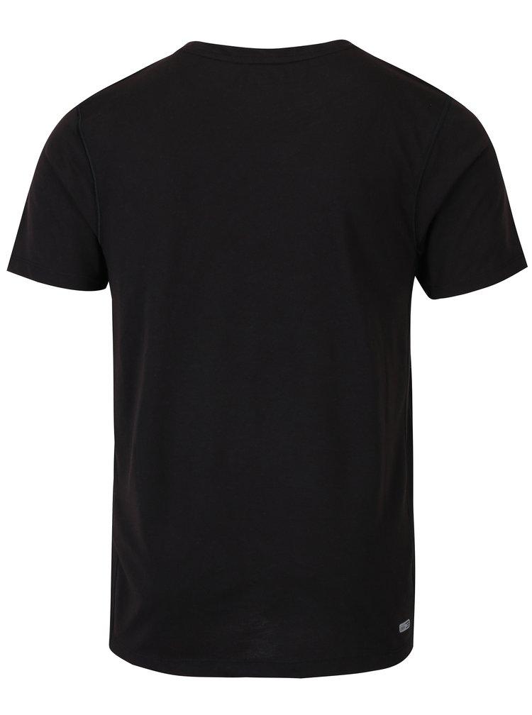 Černé funkční vzorované tričko Jack & Jones Trigger