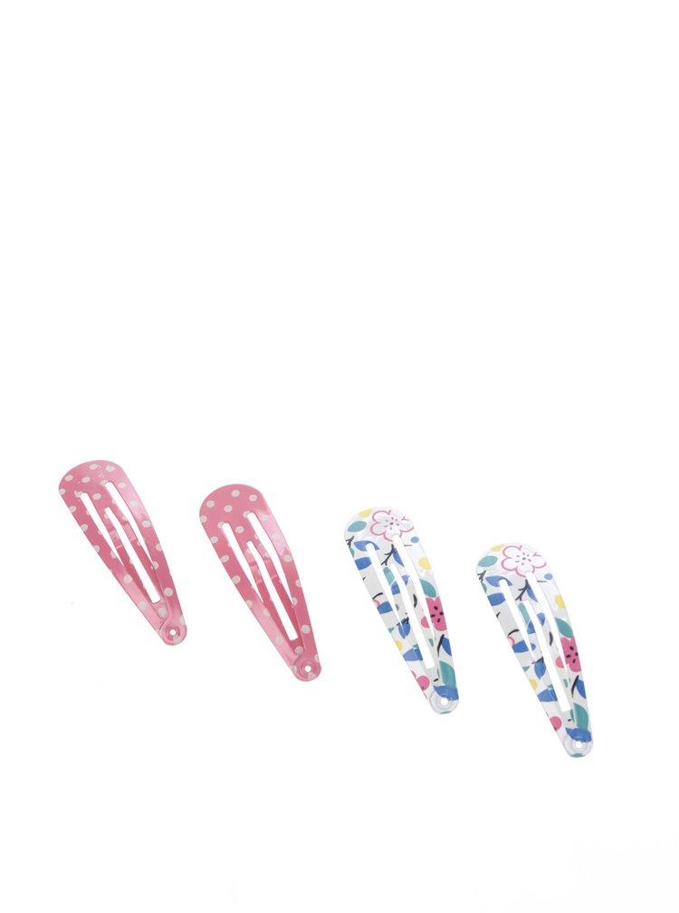Sada čtyř holčičích vzorovaných sponek do vlasů v bílé a růžové barvě Cath Kidston