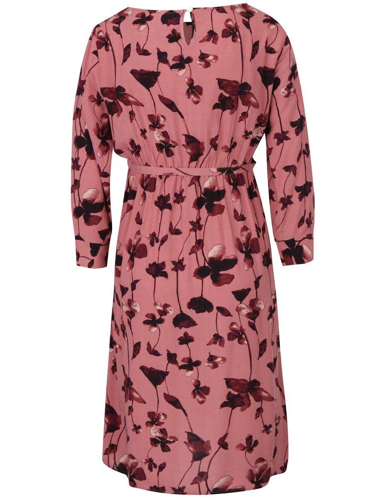 Starorůžové květované těhotenské šaty s 3/4 rukávem Mama.licious Leaf
