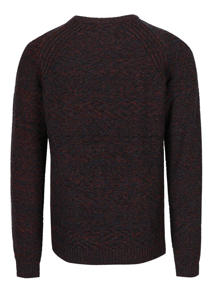 Vínový žíhaný svetr s příměsí lnu Jack & Jones Joey