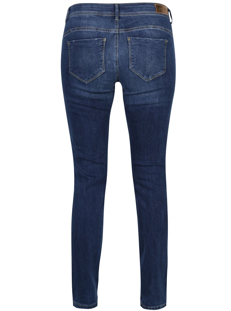 Modré skinny džíny s vyšisovaným efektem ONLY Sisse