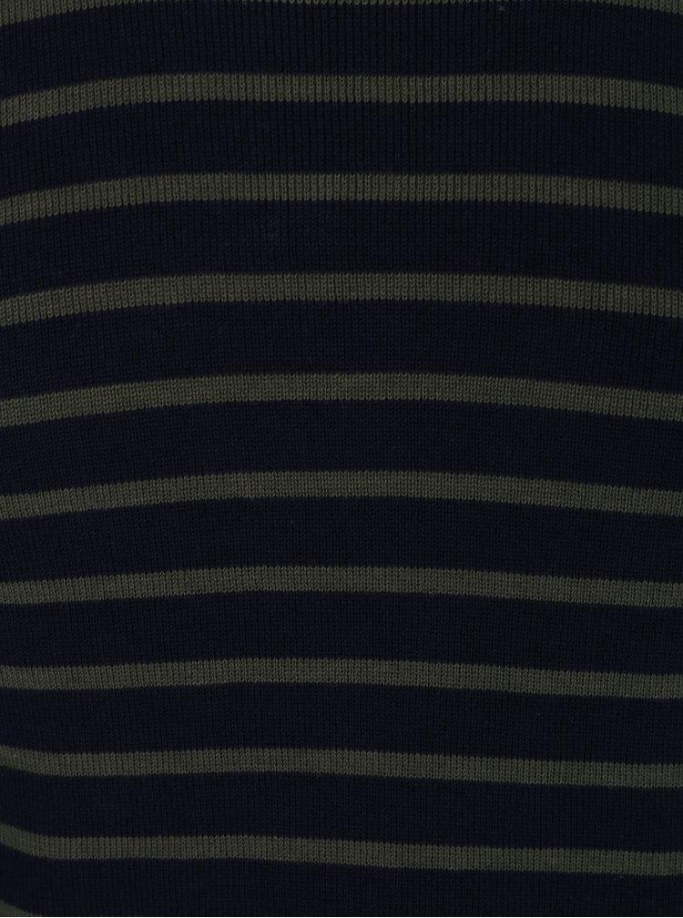 Pulover bleumarin cu dungi kaki Jack & Jones Sailor