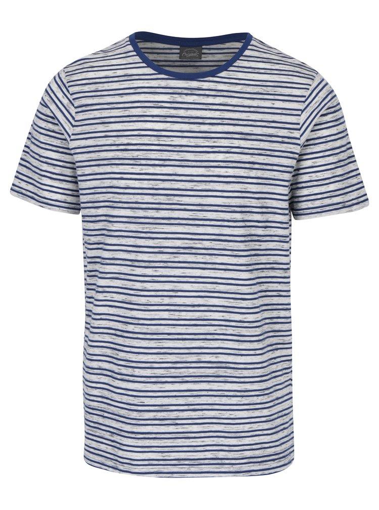 Tricou albastru & crem cu model in dungi Jack & Jones Cinnema