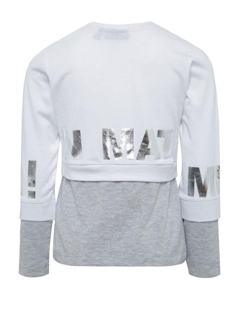 Šedo-bílé holčičí tričko s dlouhým rukávem Mix´n Match
