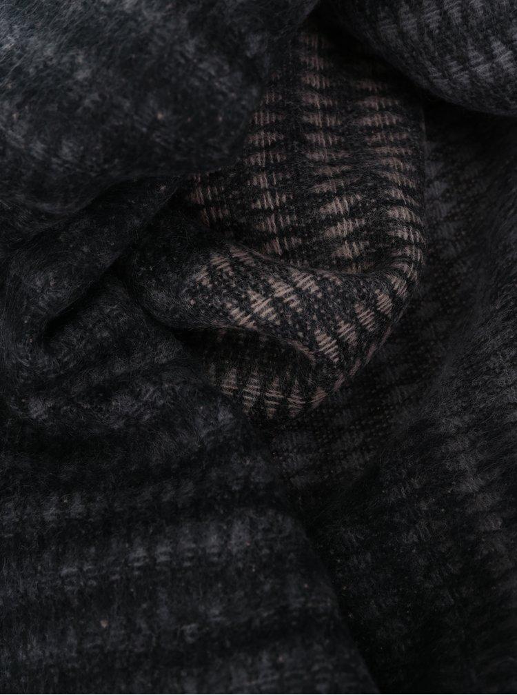 Esarfa tricotata cu frajuri gri cu maro Pieces Jolly