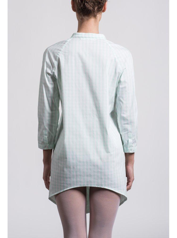 Svetlozelená dlhá kockovaná košeľa Soolista
