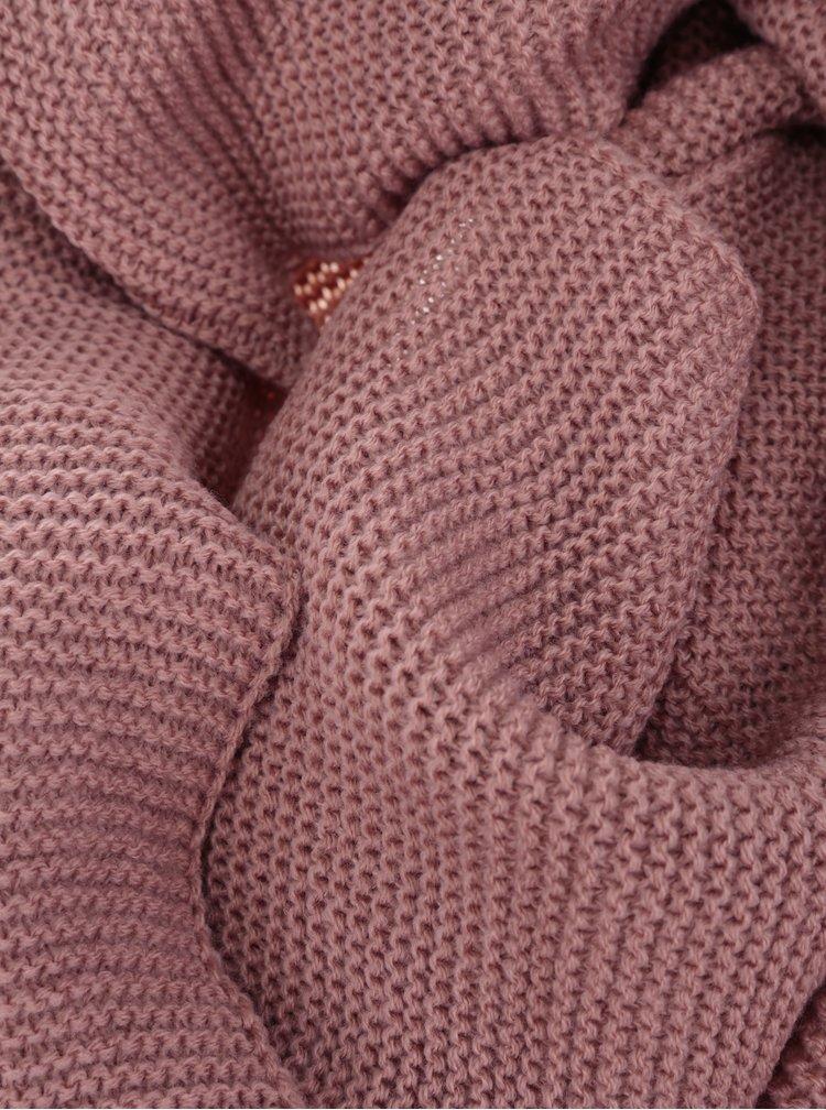 Esarfa roz tricotata cu dungi aparente Pieces Billi