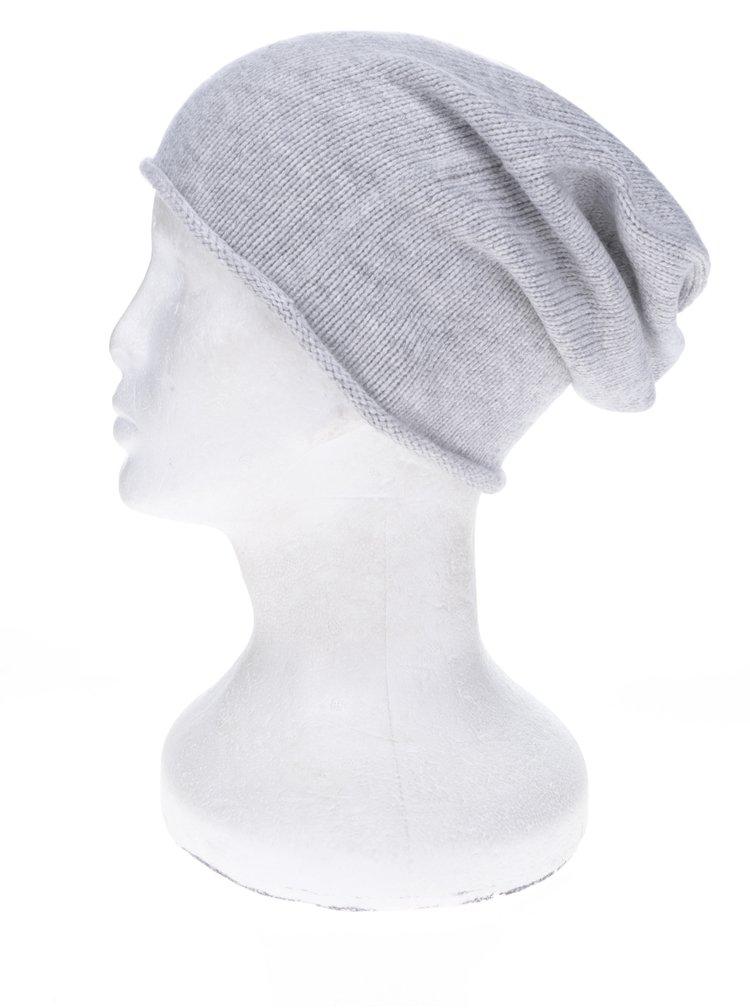 Šedá žíhaná čepice s příměsí kašmíru Selected Femme Leilana