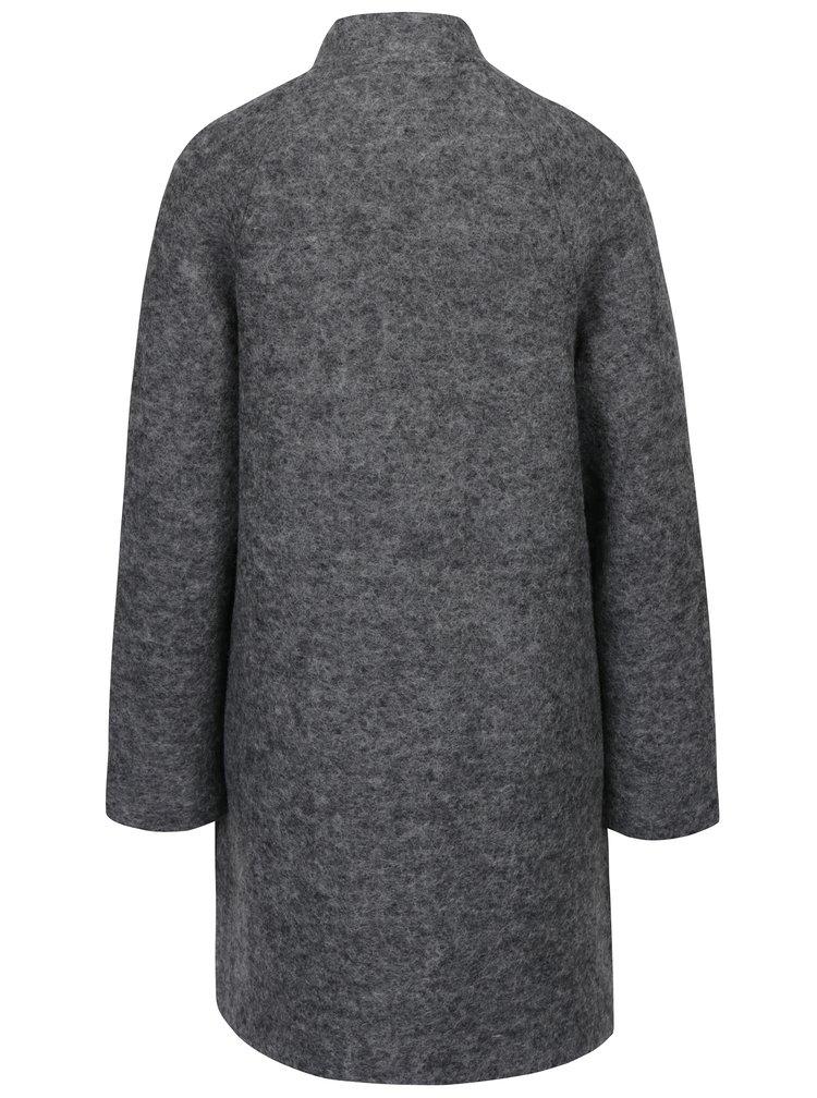 Palton gri melanj din stofă de lână cu nasturi  Selected Femme Nashwill