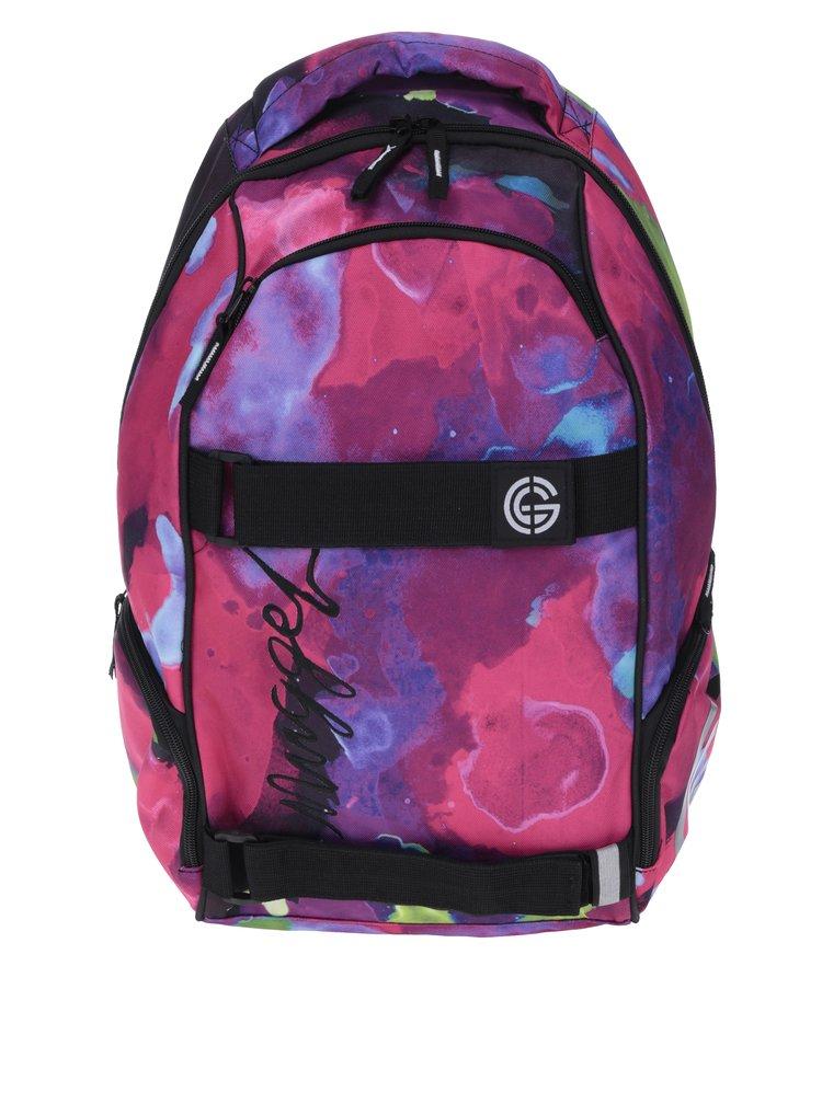 Tmavě růžový dámský vzorovaný batoh NUGGET Bradley 24 l