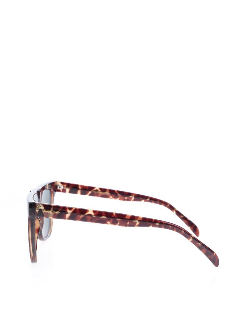 Hnědé unisex vzorované sluneční brýle Komono Bennet