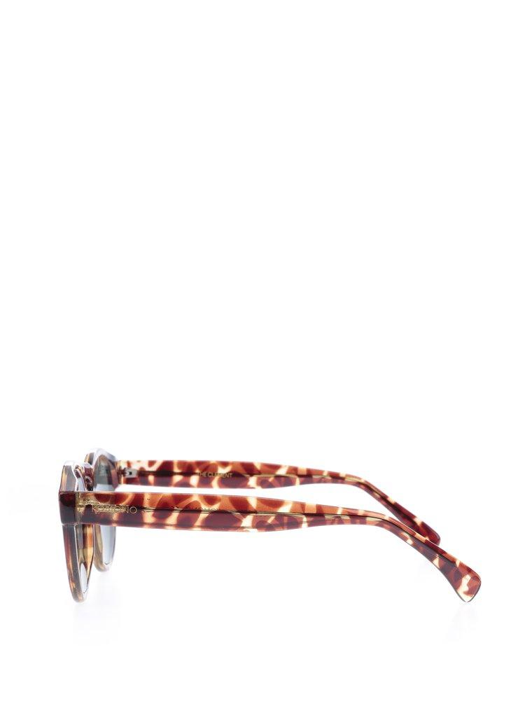 Hnědé vzorované unisex sluneční brýle Komono Clement