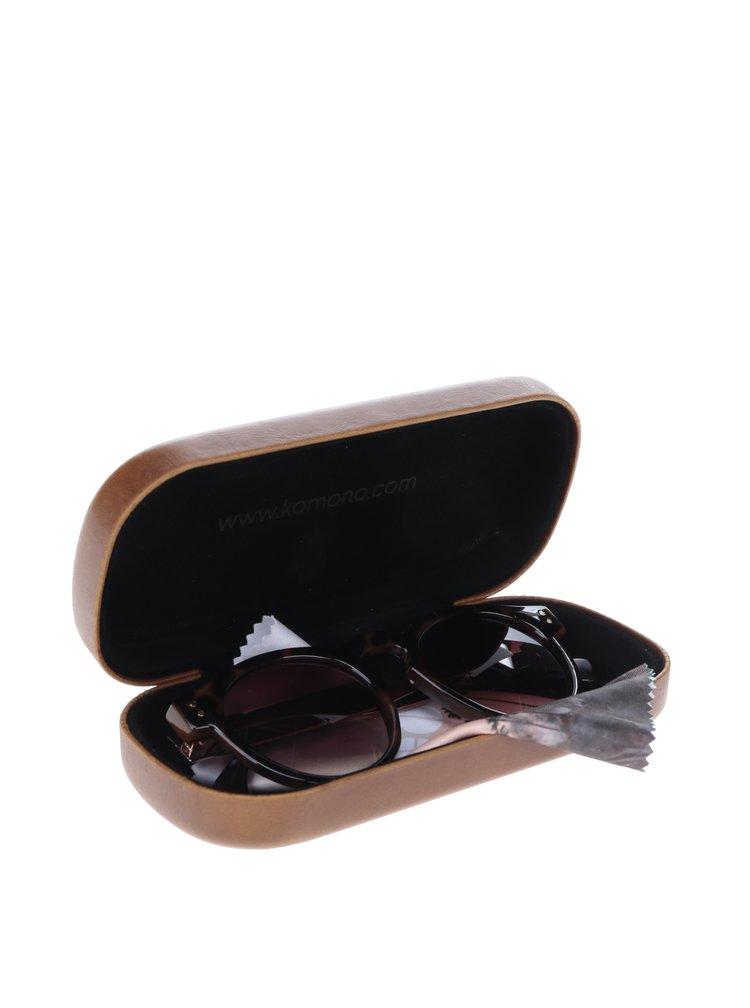 Tmavě hnědé dámské vzorované sluneční brýle Komono Clement