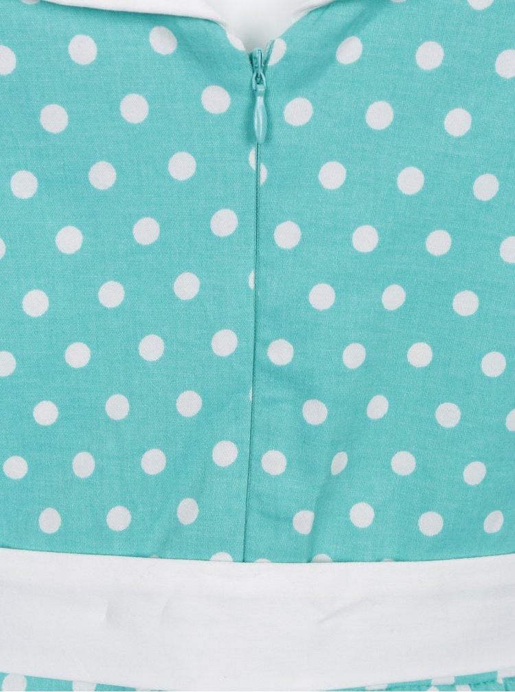 Mentolové puntíkované šaty s dvěma pásky Dolly & Dotty Cindy