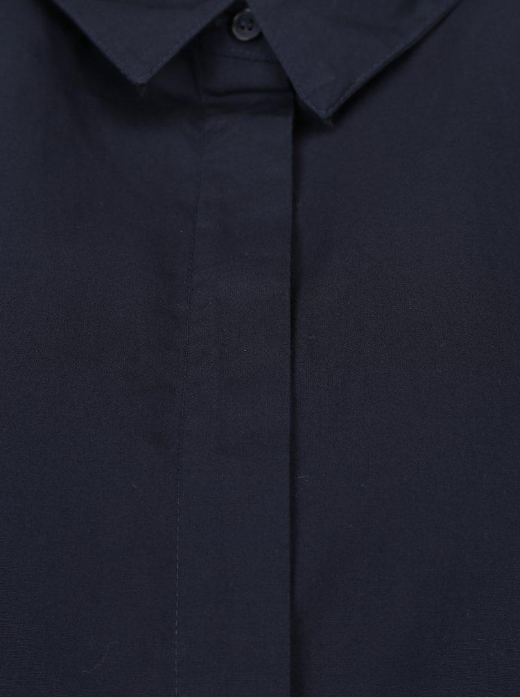 Tmavě modrá halenka s dlouhým rukávem a volány VILA Reset