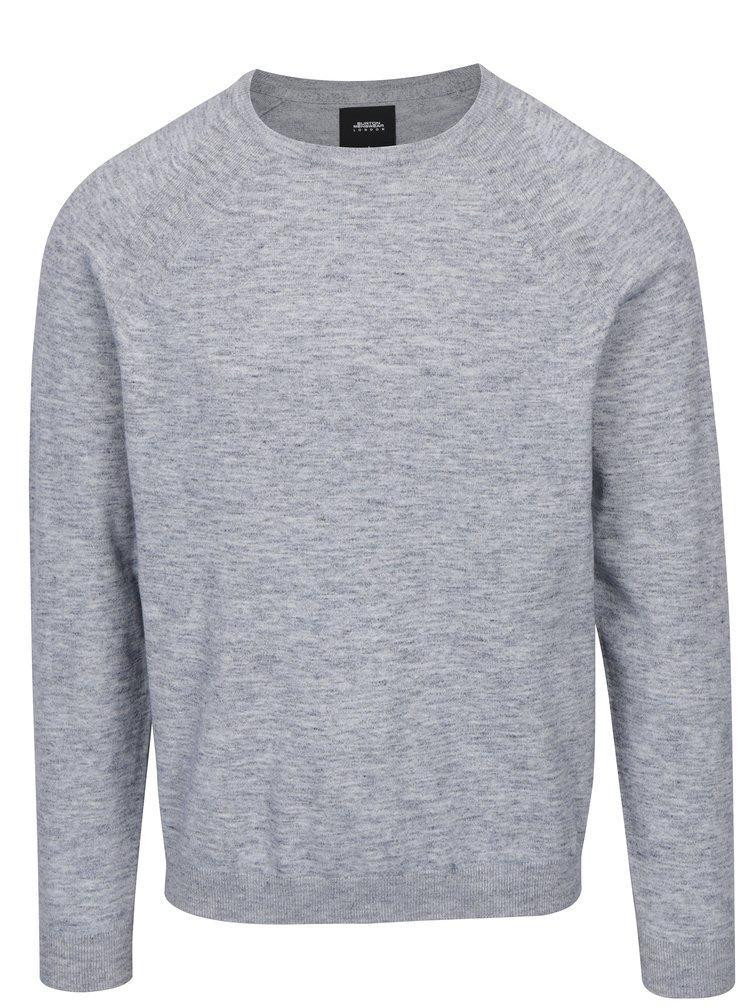 Šedý žíhaný svetr s kulatým výstřihem Burton Menswear London