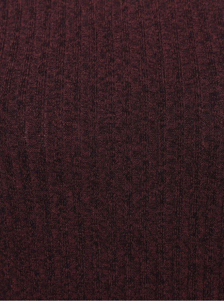 Vínové svetrové žebrované minišaty Jacqueline de Yong Mei