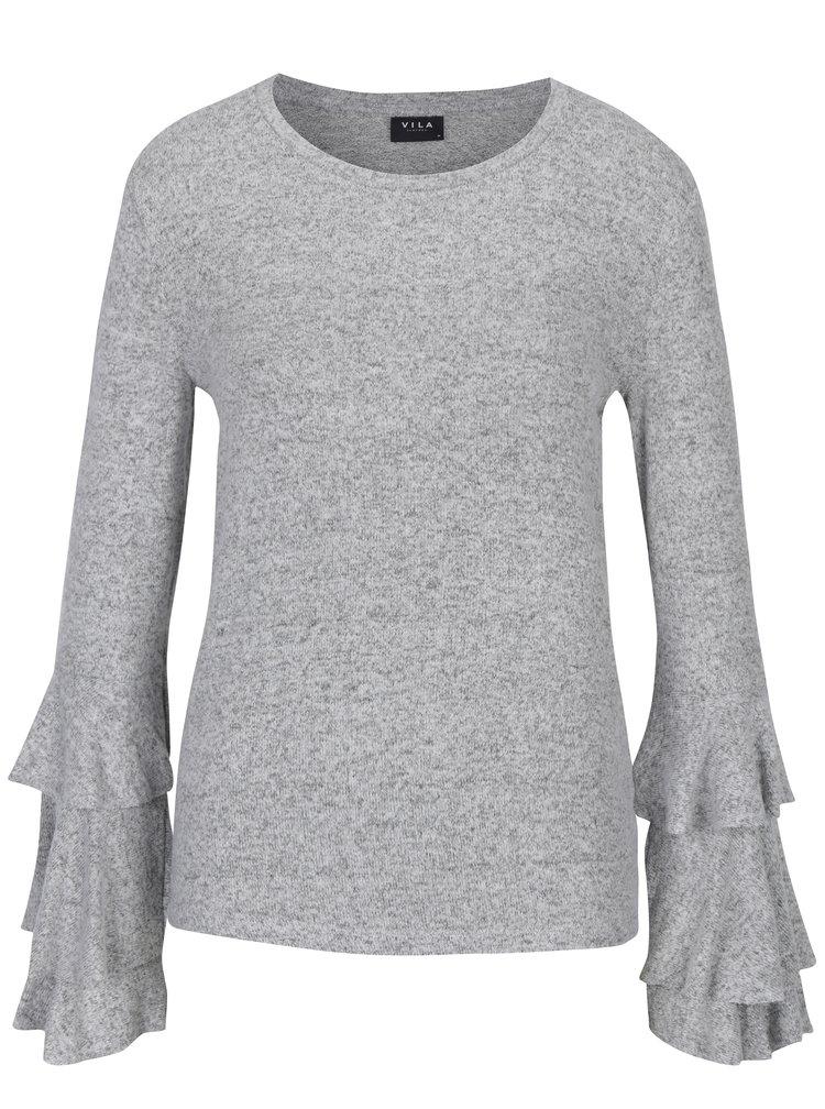 Světle šedý žíhaný lehký svetr s volány VILA Mie
