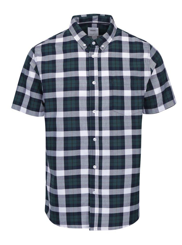 Krémovo-zelená kostkovaná košile Burton Menswear London
