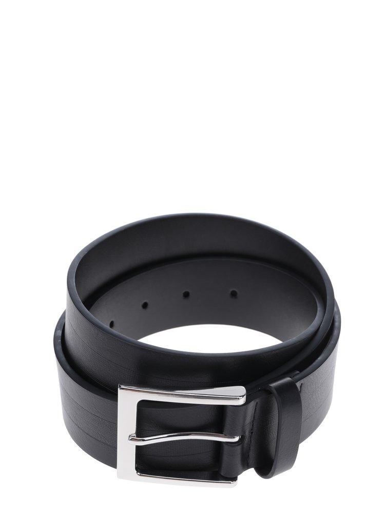 Curea neagră din piele naturală cu cataramă argintie - Burton Menswear London