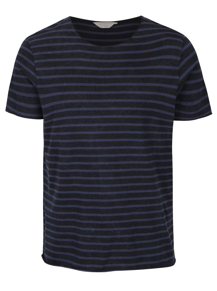 Modro-černé pruhované tričko Selected Homme Flinnt