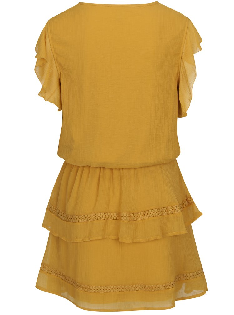 Hořčicové šaty s volány VERO MODA Aruba