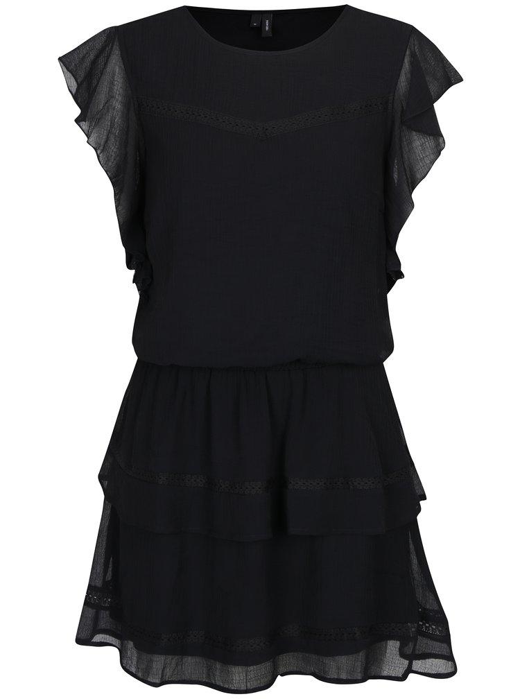 Černé šaty s volány VERO MODA Aruba