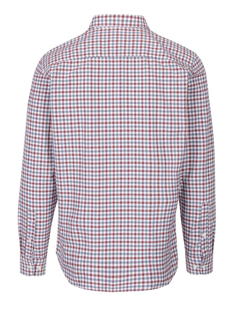 Modro-červená kostkovaná slim fit košile Selected Homme Honegingham