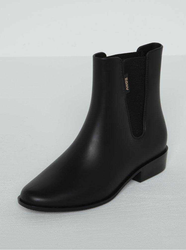 Černé kotníkové boty s gumovou vsadkou Zaxy London Boot II
