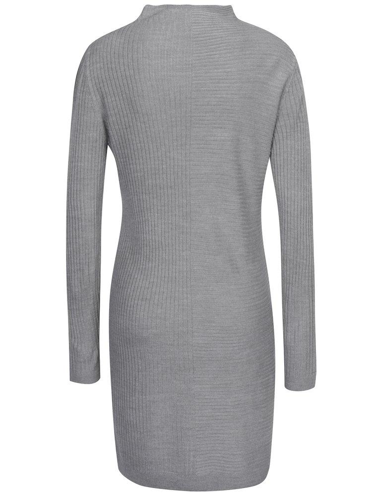 Šedé svetrové žebrované šaty Jacqueline de Yong Mindy